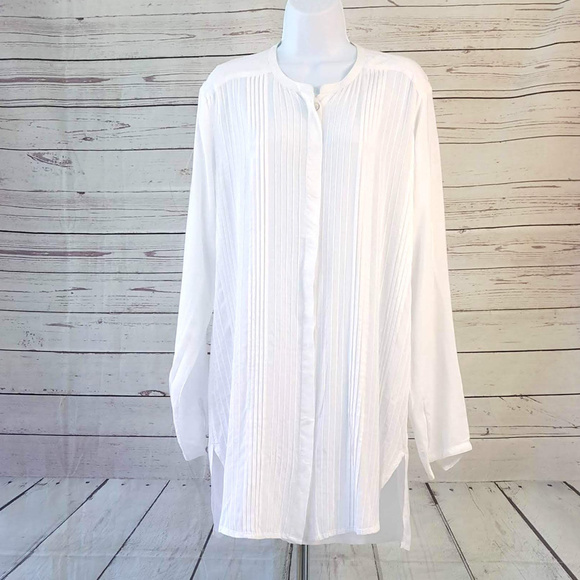 Vix Other - ViX Paula Hermanny white pleated tunic cover up